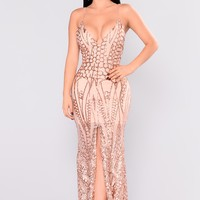 All Over The World Satin Dress - Rose Gold