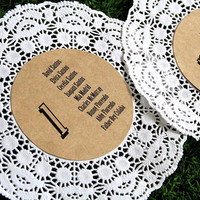 Rustic Wedding Seating Chart - Custom Table Numbers - Doily Guest List - Set of 12