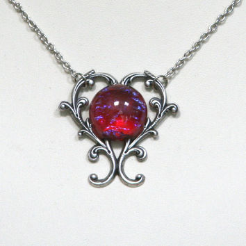 Dragon's Breath Glass Fire Opal Cabochon Silver Heart Vine Necklace