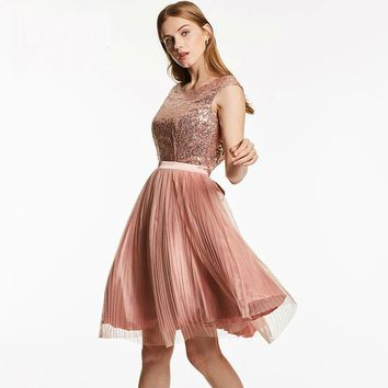 Scoop backless cocktail dress pink sleeveless knee length a line gown  women sequined pleats short cocktail dresses