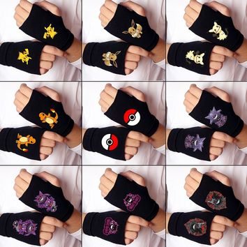 Wellcomics Game Pokemon Poke Ball Pikachu Charmander Eevee Mimikyu Gengar Knitted Fingerless Gloves Half Mitten Cosplay Costume