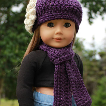 crochet beanie hat with flower, long scarf, purple sparkle 18 inch doll clothes, American girl, Maplelea