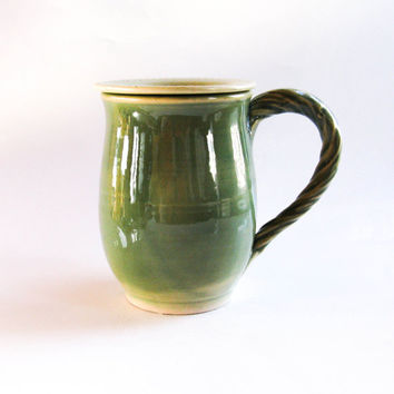 Pale Green Mug with Lid - Cup & Saucer - Covered Mug