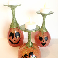 Halloween Decor Pumpkin Candle Holders - Upcycled Recycled Repurposed - Wine Glasses - Wine Glass - Wine Glass Candle Holder - Ready to Ship