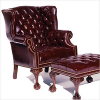 Distinction Leather - Tufted Ball in Claw Leather Wing Chair | CSN Sofas