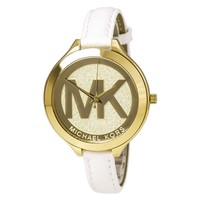 Michael Kors MK2389 Women's Slim Runway MK Logo Gold Tone Dial White Leather Strap Watch