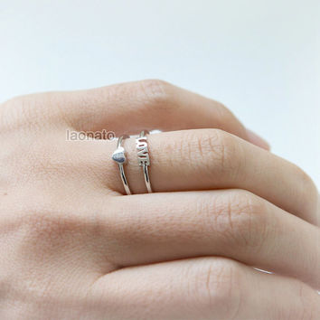 Heart and Love ring , adjustable ring / choose your color / gold and silver