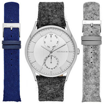 Skagen Mens Holst Date Watch Blue, Gray and Black Fabric Strap Gift Set