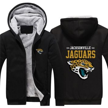 NFL American football Men's winter casual jacket Warm thicken hoodies Jacksonville Jaguars