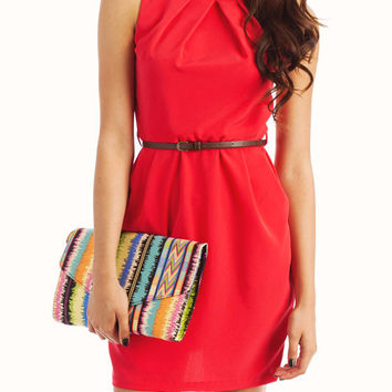 Natasha Belted Coral Dress