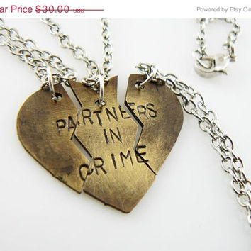 ON SALE Partners in Crime ,Necklace Set. hand stamped, Broken Heart Set, Puzzle Pieces , Best Friends, Sister Jewelry, Mother Daughter