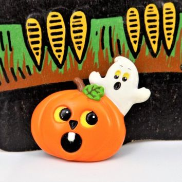 Pumpkin Ghost Halloween Pin, Russ, Holiday Jewelry, Made in Hong Kong, Vintage Halloween Pins
