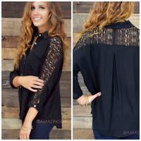 Cottonwood Cascades Black Button Down Top