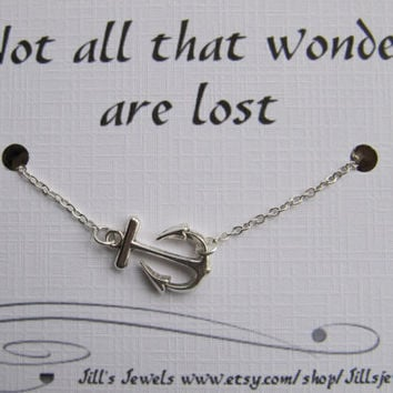 Anchor Charm Necklace and Inspirational Quote Inspirational Card- Bridesmaids Gift - Friends Forever - Quote Gift