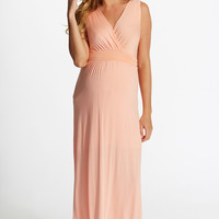 Peach Maternity/Nursing Maxi Dress