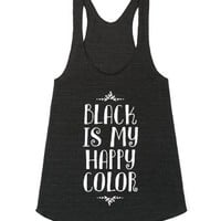 Black Is My Happy Color-Unisex Athletic Tri Black Tank
