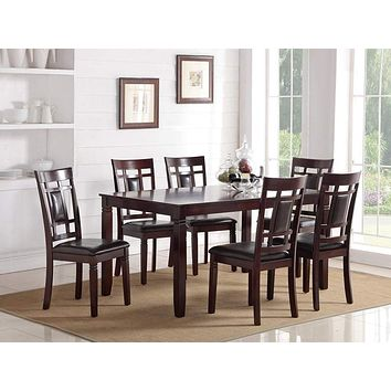 Modish 7 Pieces Dining Set of Rubber Wood In Espresso Brown By Poundex