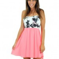 Neon Coral Short Dress With Floral Top