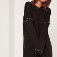 Missguided - Zip Detail Jumper Dress Black