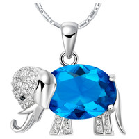 Sterling Silver Crystal Elephant Pendant Necklace