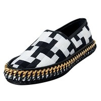 Versace Men's Canvas & Leather Loafers Shoes US 6 IT 39;