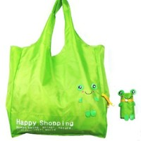 Reusable Shopping Tote Bag - Folded into a Frog - Green:Amazon:Clothing