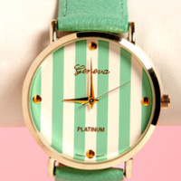 The Clock Stripes Twelve Mint Green Watch