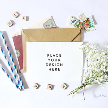 Styled Stock Photography - Hero Image - Card, Invitation, Stationery Mock Up - Baby Breath and Landscape Card on a White Desktop Background