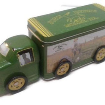 Vintage John Deere Collectible Tin Truck With Storage Toy Piggy Bank Double Compartment  - Vintage Kid Toy - Metal Tin - Advertisement Tin