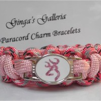 Pink Camo Browning Buck Cobra Paracord Bracelet Image Buckle Charm