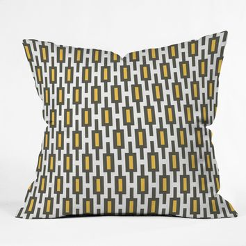 Raven Jumpo Grey Gold Geometry Throw Pillow