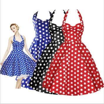 Vintage Dress Big Swing Polka Dot Backless Rockabilly Plus Size