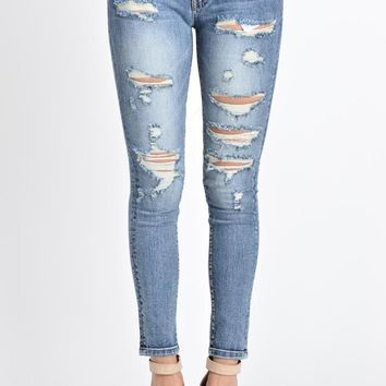 Cropped Distressed Skinny Fit Jeans