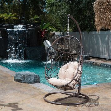 Christopher Knight Home Swinging Egg Outdoor Wicker Chair | Overstock.com Shopping - The Best Deals on Hammocks/Swings