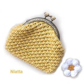 Crochet Round Pouch : Crochet Coin Purse Change Purse Money Pouch Flower Kiss Clasp Framed ...