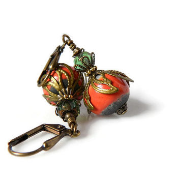 Pumpkin Orange Earrings  Raku Clay Pottery Rounds Antique Gold