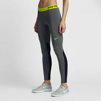 Nike Pro Hyperwarm Compression Leggings Tight Dri-FIT 803102-032 Grey Volt