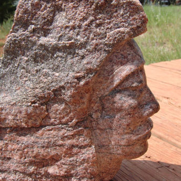 Hand carved Stone Maiden  - Old Pocahontas by Billy King