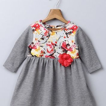 Beebay Gray & Coral Floral A-Line Dress - Infant