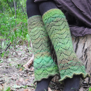 Green Pixie Leg WarmersKnit Leg Warmers Woodland Fairy Hand Knitted Made To Order