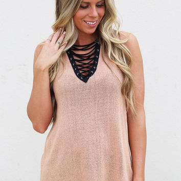 Xena Lace-up Tank {Salmon}