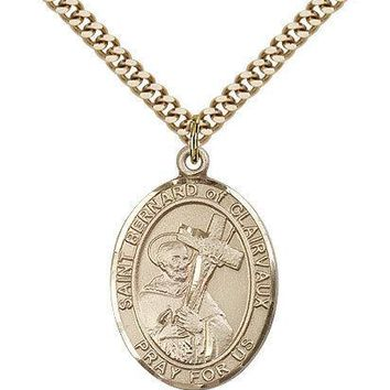 "Saint Bernard Of Clairvaux Medal For Men - Gold Filled Necklace On 24"" Chain ... 617759604597"