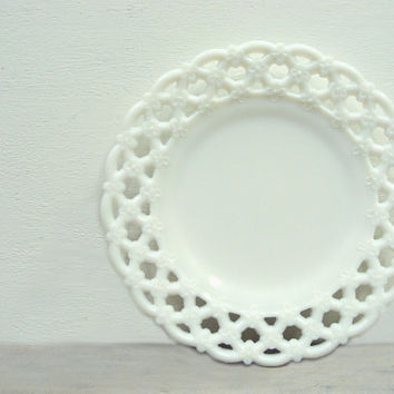Vintage Milk Glass Luncheon Plate Westmoreland by jacquierae