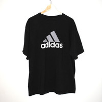 vintage Adidas Tshirt minimalist black grey +white athletic tee sports t-shirt large