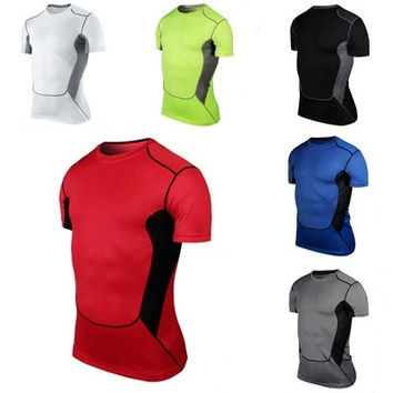 Mens Sports Compression Wear Under Pro Base Layer Short Sleeve T-Shirts Asian Size [9222484484]