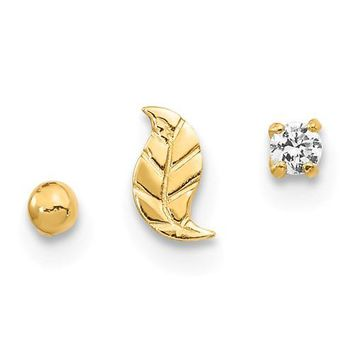 14k Yellow Gold Solid Leaf, Ball And CZ Post Nose Ring Set