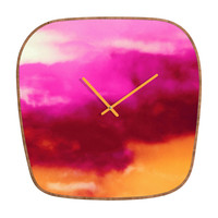Caleb Troy Cherry Rose Painted Clouds Modern Clock