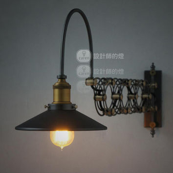 New Loft RH Vintage Fashion Retractable Wall Lamp