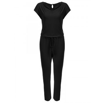 Women's Cowl Neck Cap Sleeve Drawstring Solid Pocket Jumpsuit