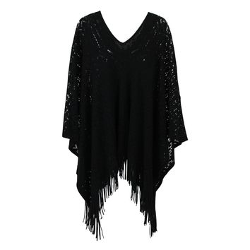 Abstract Pattern Knit Poncho